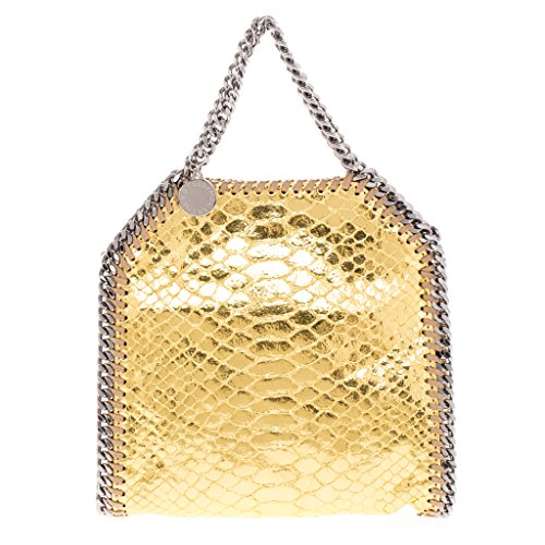 Stella McCartney Women's Tiny Metallic Gold Snake-Effect Falabella Tote Gold