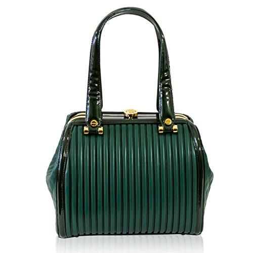Valentino Orlandi Italian Designer Green Plisse Jeweled Leather Doctor Handbag
