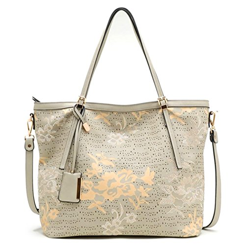 New Tosca Capri Touch of Glitz, 3-Compartment Floral Tote w/ Strap- Gray