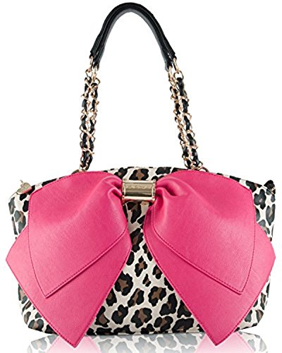 Betsey Johnson Bj55235p Bownanza Glm Large Fuschia Bow Leopard Satchel Shouder Bag