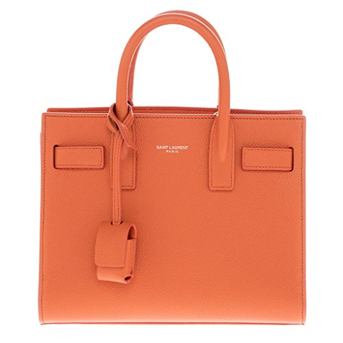 Saint Laurent Women's Mini 'Sac de Jour' Grained Tote Bag Orange