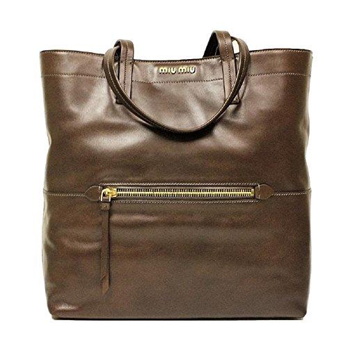 Miu Miu RR1820 Vitello Soft Brown Leather Shopping Tote Bag