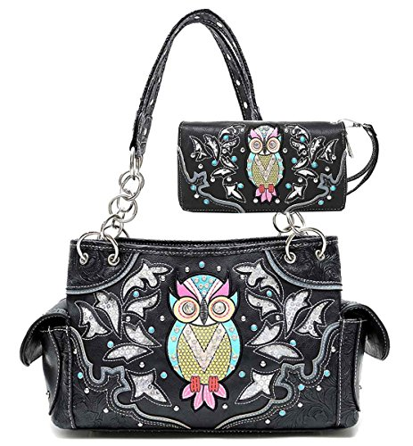 Cowgirl Trendy Western Concealed Carry Sequin Owl Spring Purse Handbag Shoulder Bag Wallet Set Black