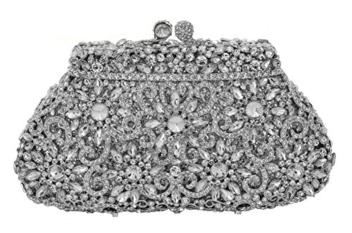 Celebrating You New Fifth Avenue Formal Wedding Party Sparkling Evening Bag Crystal Bridal Clutch Silver