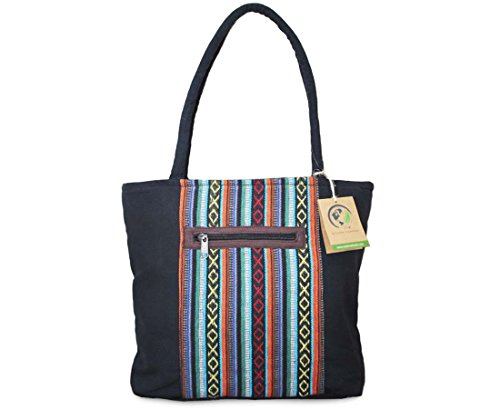 Mato Tote Bag Canvas Shoulder Handbag Bohemian Ikat Aztec Pattern Black