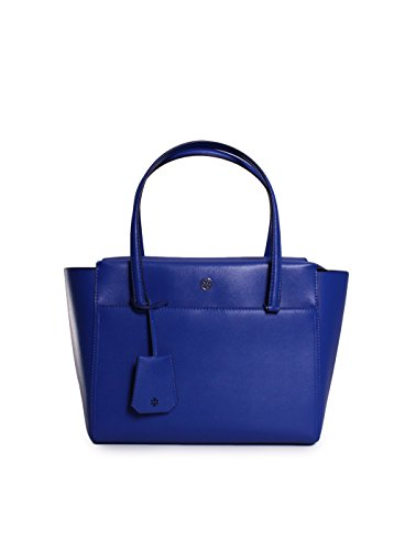 Tory Burch Parker Leather Small Tote Handbag in Songbird Royal Navy