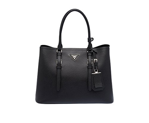 Prada Saffiano Leather Tote Handbag Black