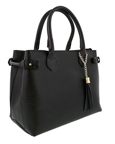 HS Collection HS8435 NR LIZA Black Satchel/Shoulder Bag