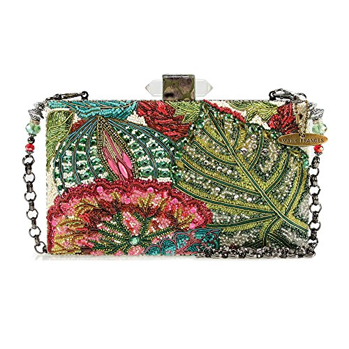 Mary Frances Hidden Foilage Extensively Hand Beaded Gem Embellished Floral & Leaf Handbag Shoulder Bag