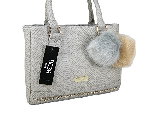 135e46d95d31 New BCBG Logo Paris Purse Satchel Hand Bag Grey Crocodile Snake Pom Pom