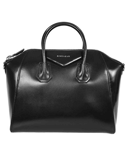 Givenchy Antigona Sugar Goatskin Leather Satchel Bag | Black with Silver Hardware | Medium