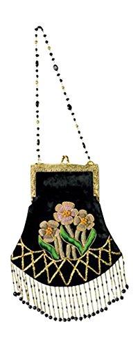 Embroidered Rose Black Velvet Purse Evening Bag Handbag