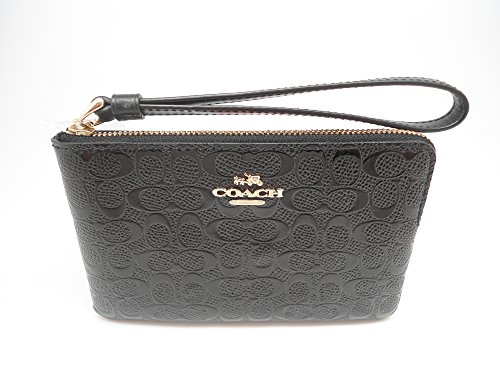 Coach Black Signature Debossed Patent Leather Corner Zip Wristlet