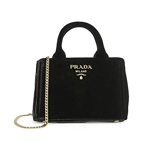 Prada Velvet Chain Convertible Shoulder Bag – Black