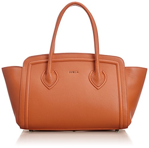 Furla College Leather Handbag Maple