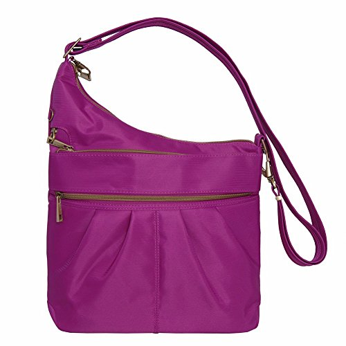 Travelon Anti-Theft Signature 3 Compartment Crossbody Straight Pocket Shoulder Bag (One Size, MAGENTA)