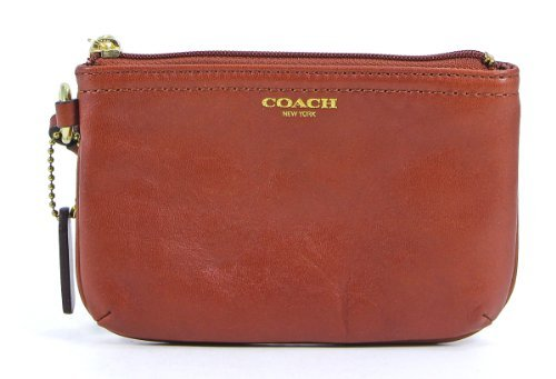 Coach Leather Small Wristlet Clutch Cognac Brown
