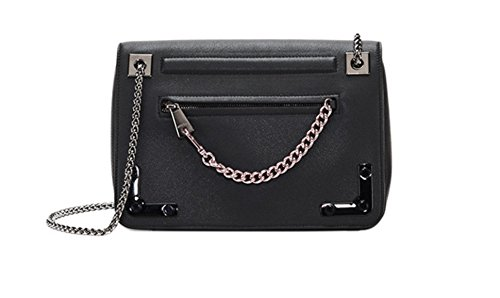 Furla Diana Black Medium size Onyx Cross-body Leather Bag Chain NEW $699 Authentic 100%