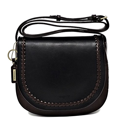 Tignanello Classic Boho Saddle Bag, Black/Dark Brown, T58705A
