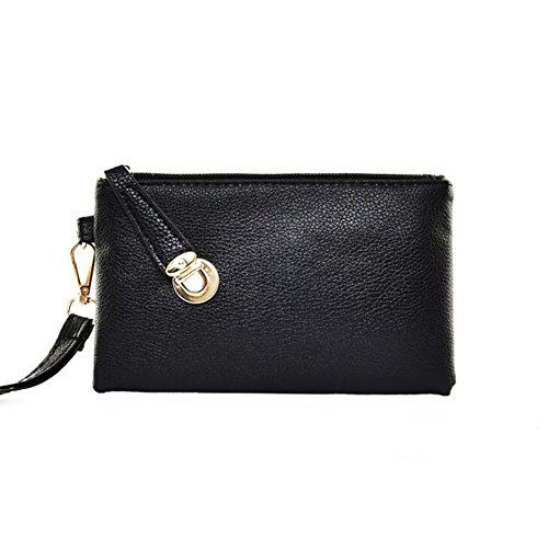 Kate Women's Buckle Lock Leather Envelope Clutch Wristlet Wallet
