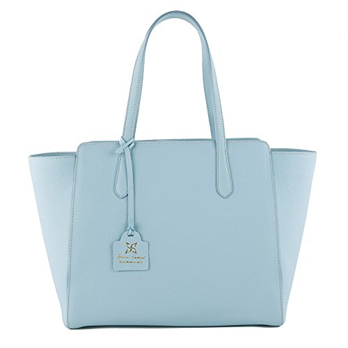 Shoulder bag, Tosca blue, genuine leather, Dimensions in cm: 36 l x 29 h x 16 p