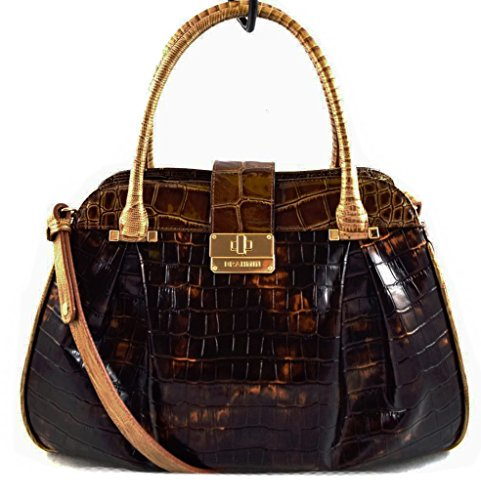 Brahmin Tortoise Rouncewell Laura Satchel Leather Handbag