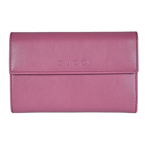 Gucci Women's Leather French Flap Wallet 346057 5535 Dark Rose Pink
