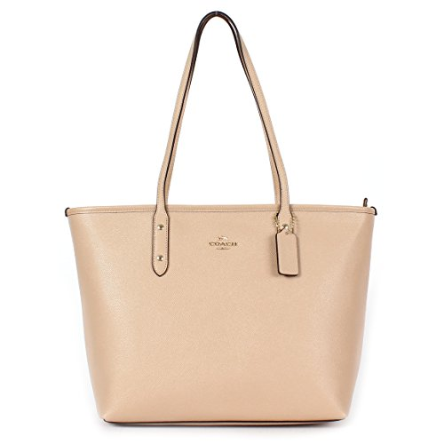 Coach Crossgrain Leather City Zip Tote F57522 Beechwood