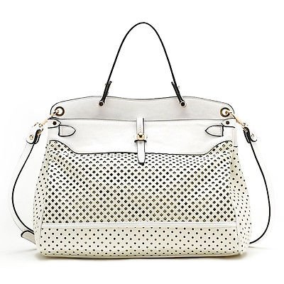 Tosca USA, Quality Top Handle Eyelet Tote w/ Crossbody Strap- White