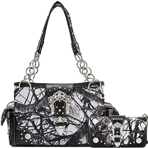 Cowgirl Trendy Western Concealed Carry Buckle Camouflage Purse Handbag Shoulder Bag Wallet Set Black