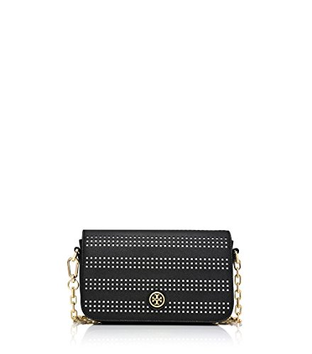 Tory Burch Robinson Perforated Adjustable Shoulder Bag, Black/Birch