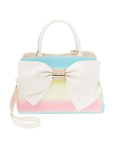 Betsey Johnson Pearl of a Girl Cream Dot Bow Satchel, Rainbow