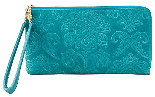 Hobo Handbags Damask Emboss Rylan Clutch – Teal Green