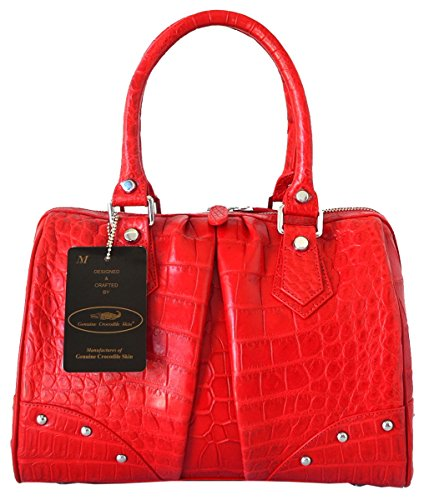 Authentic M Crocodile Skin Womens Belly Leather Clutch Bag Purse Red Handbag