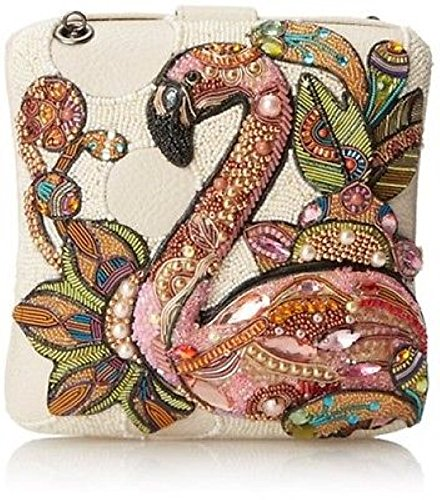 Mary Frances Handbag Multi Pink Flamingo Bird Beaded Crystal Jeweled Clutch Shoulder Bag