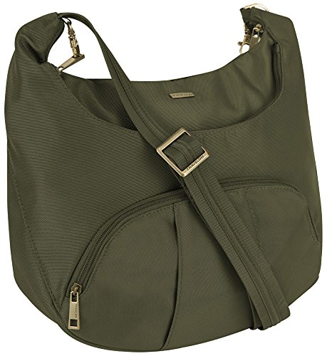 Travelon Anti-Theft Round Hobo with RFID Wristlet, Moss Green