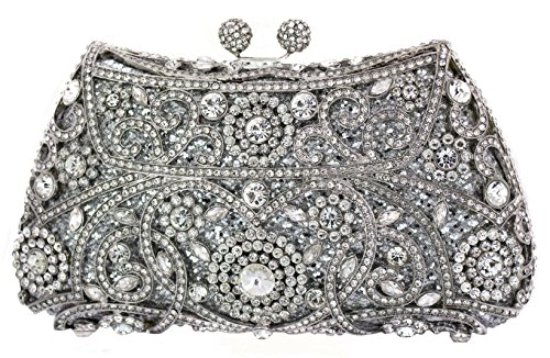 Celebrating You Park Avenue Wedding Party Special Occasion Crystal Bridal Clutch Evening Bag Silver