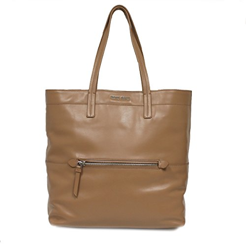 Miu Miu Prada Vitello Soft Leather Tote Large Caramel Beige Shoulder Bag RR1934