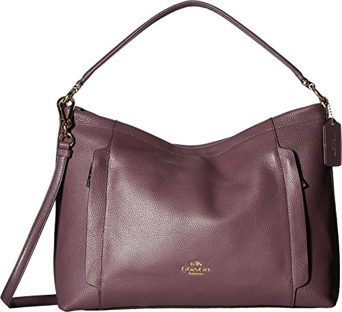 COACH Women's Pebbled Leather Scout Hobo Eggplant Handbag