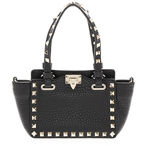 Valentino Women's Mini Rockstud Push-Lock Grained Tote Bag Black