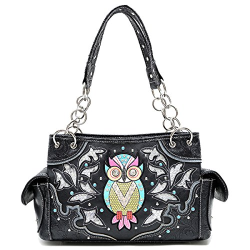 Cowgirl Trendy Western Style Concealed Carry Sequin Owl Art Purse Handbag Shoulder Bag Black