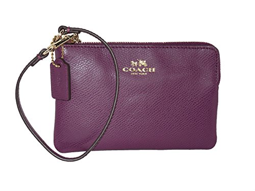 Coach Plum Crossgrain Leather Corner Zip Phone Wristlet, Wallet NWT 53429