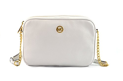 Michael Kors Fulton Large East West Leather Crossbody Bag Purse, Optic White