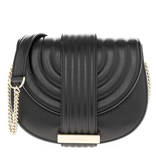 Salvatore Ferragamo Women's Small Rosette Saddle Crossbody Bag Black