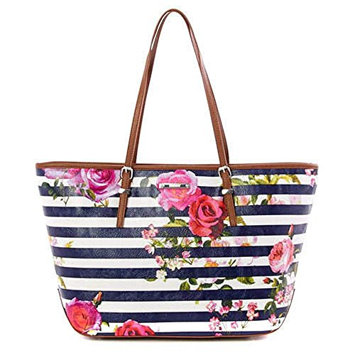 Nine West Large It Girl Tote Shopper, Roses & Navy Stripes