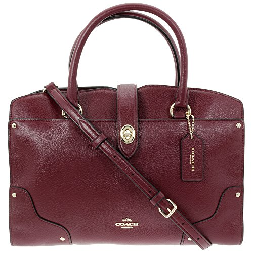 Coach Mercer Satchel Burgundy Grain Leather Ladies Handbag 37575LIBUR