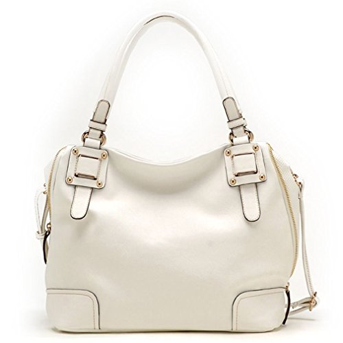 Tosca USA, Elegant Solids Shoulder Bag w/ Expanding Sides & Strap -White