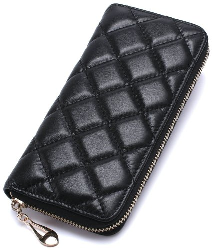ILISHOP Hot Sale Women's Genuine Sheepskin Long Wallet Fashion Zipper Clutch Purse