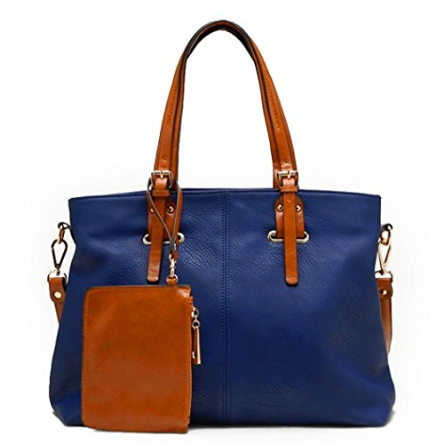 Tosca USA, 2-Compartment Contrast Tote Bag w/ Strap- Navy