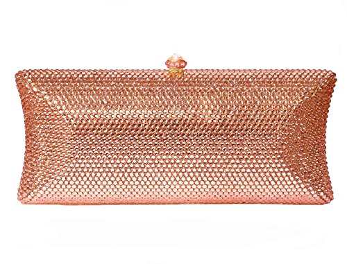 Crystal Bridal Clutch Formal Evening Bag Rose Gold Blush & Compact Mirror Wedding Party Gift Set